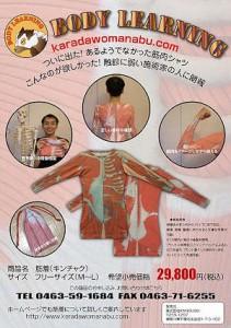 人体構造学習用ティーシャツ 筋着